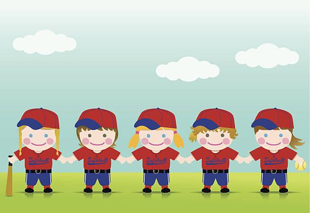 Softball Girls Blond Brown vector art illustration