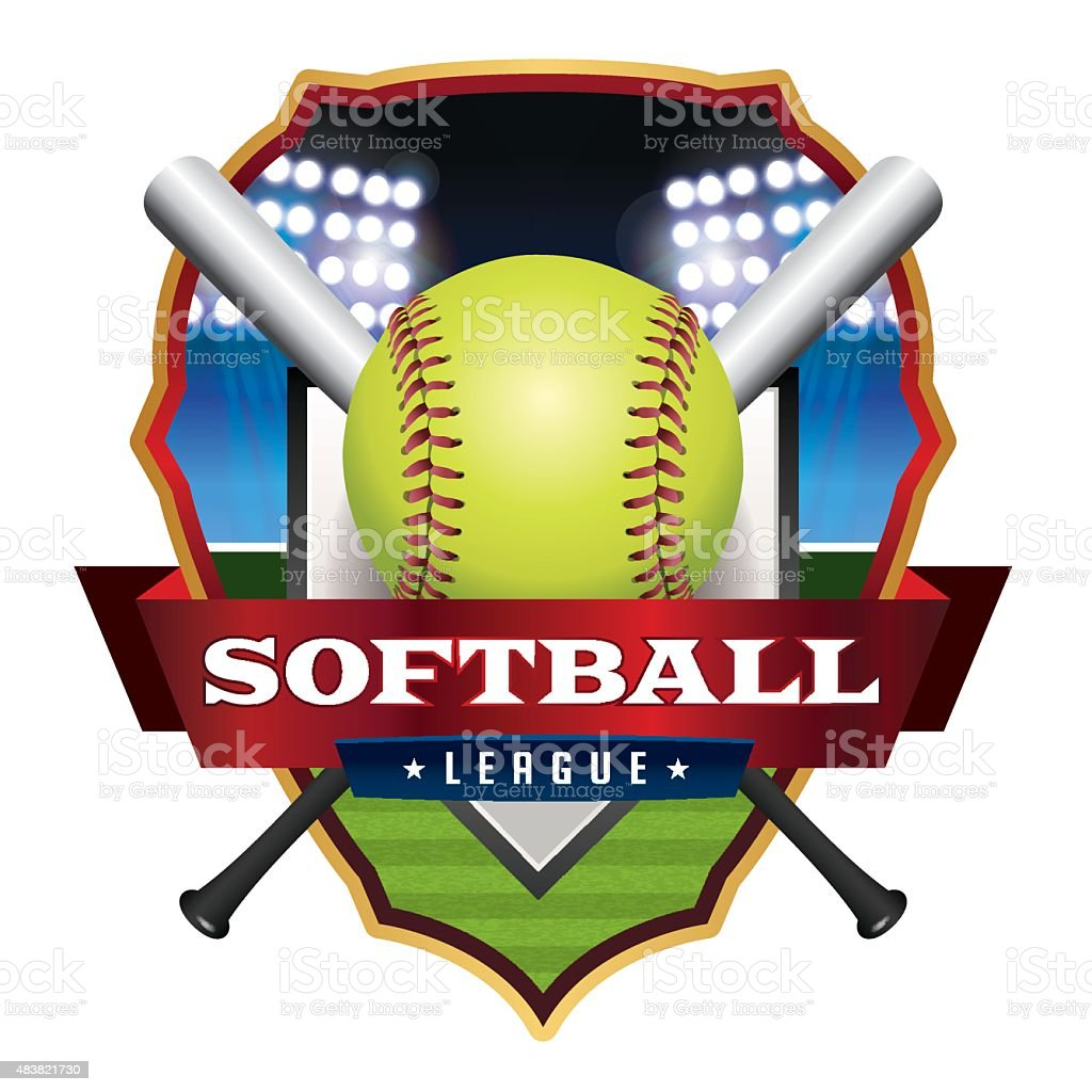 Softball League Emblem Illustration vector art illustration
