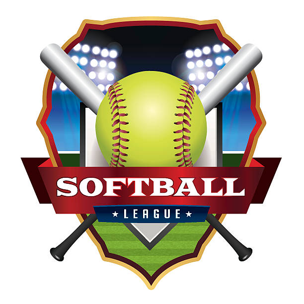 softball league emblem illustration - softball stock illustrations, clip art, cartoons, & icons