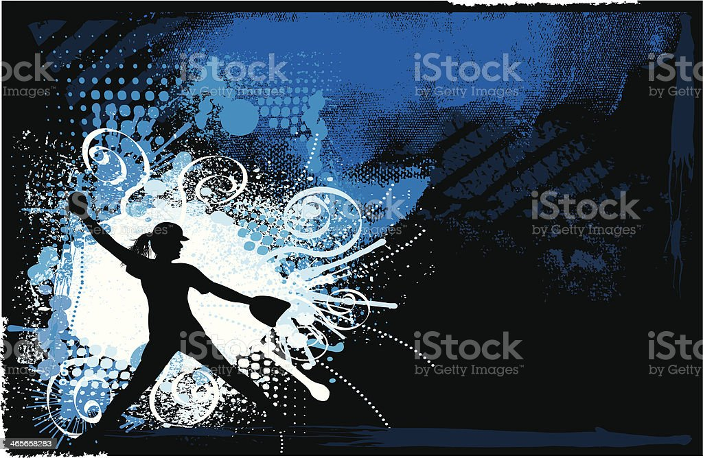 Grunge Style background Illustration of a Girls Softball Pitcher,...