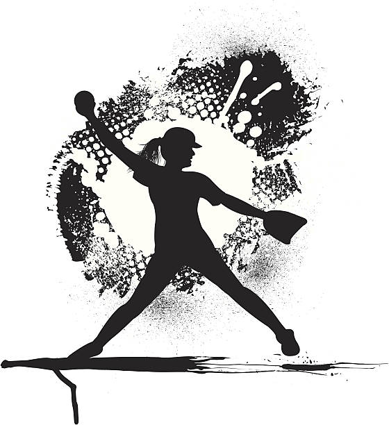 ガールズソフトボールピッチャー-グランジのグラフィック - ソフトボール点のイラスト素材/クリップアート素材/マンガ素材/アイコン素材