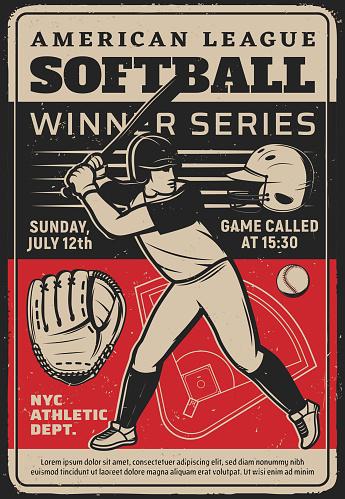 Softball player at sport tournament vintage flyer