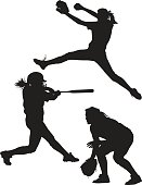 Vector illustrations of girls playing softball. These silhouettes feature a pitcher, batter, and fielder. This is an AI8 eps file.