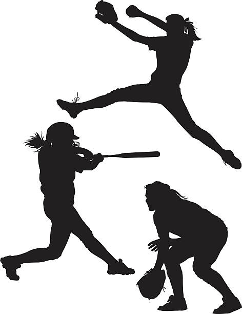 softball silhouettes - softball stock illustrations, clip art, cartoons, & icons
