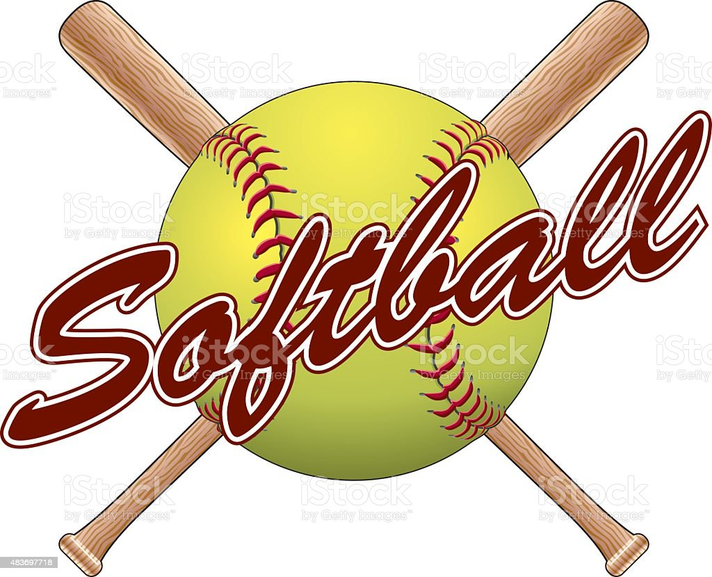 Softball Team Design vector art illustration