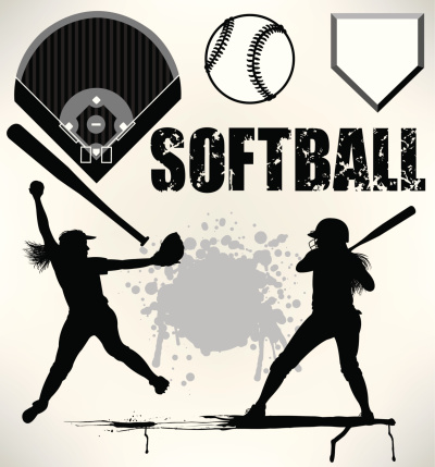 Softball Team Elements, Pitcher, Batter, Ball, Field