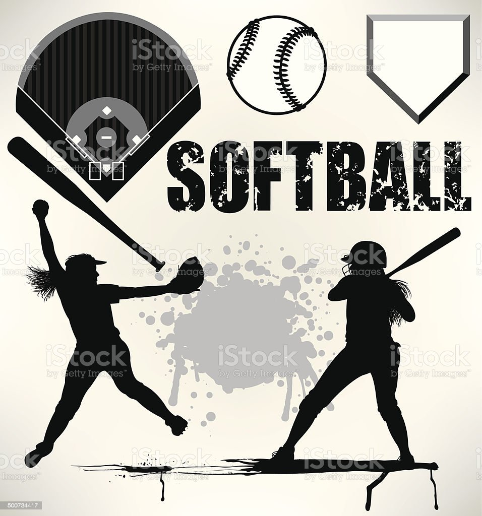Softball Team Elements, Pitcher, Batter, Ball, Field vector art illustration