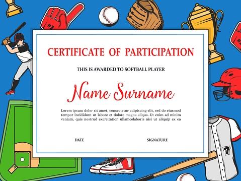Softball tournament certificate of participation