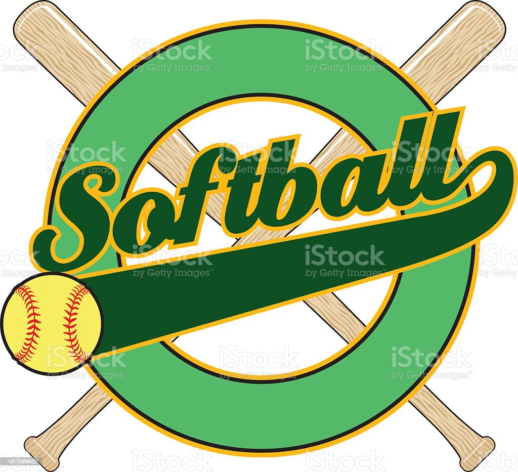 Softball With Tail Banner vector art illustration
