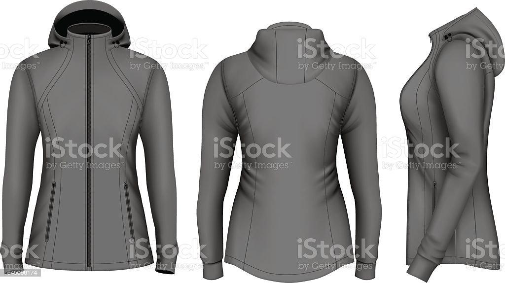 Softshell hooded jacket for lady. vector art illustration