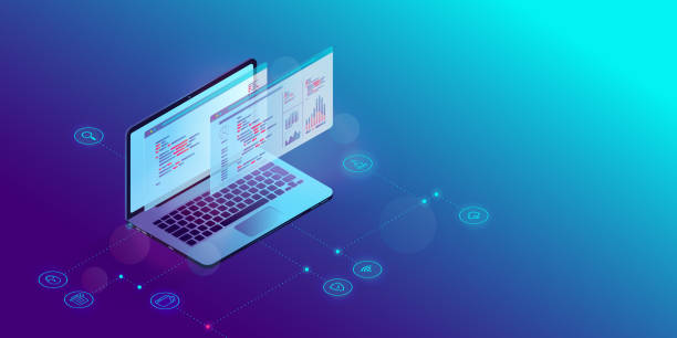 Software and web development Isometric laptop computer with code and analytic tools on screen, icons showing security, cloud and research symbols. Programming and programmer concept. Vector. web design stock illustrations