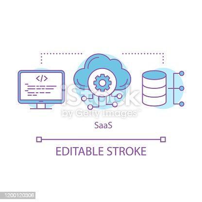 Software as а service concept icon. Saas idea thin line illustration. Cloud computing. Database, server. Web data storage. Vector isolated outline drawing. Editable stroke