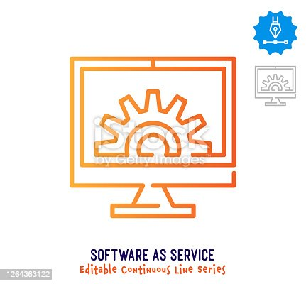 Software as service vector icon illustration for logo, emblem or symbol use. Part of continuous one line minimalistic drawing series. Design elements with editable gradient stroke line.