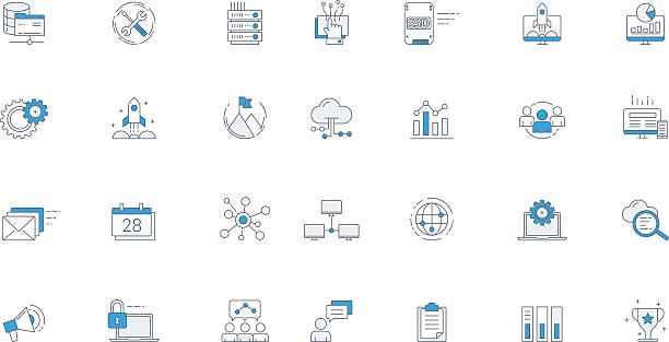 software business futuristic icon set - digitally generated image stock illustrations, clip art, cartoons, & icons