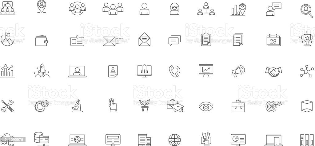 Software Business Futuristic Icon Set Vector vector art illustration