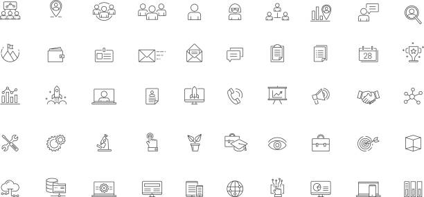 software business futuristic icon set vector - business icons stock illustrations, clip art, cartoons, & icons