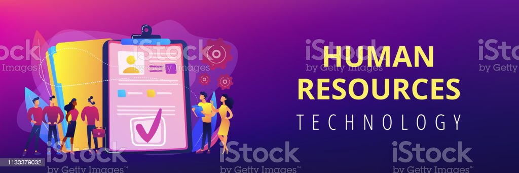 Hr Software Concept Banner Header Stock Illustration
