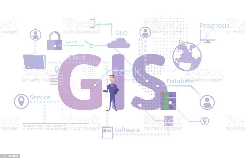 Concepto de Software GIS, sistema de información geográfica. Ilustración de vector. ilustración de concepto de software gis sistema de información geográfica ilustración de vector y más vectores libres de derechos de adulto libre de derechos