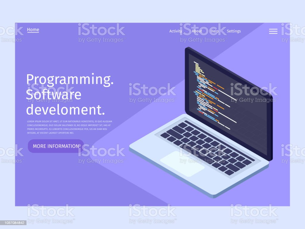 Software development and programming in isometric illustration. Landing page template. royalty-free software development and programming in isometric illustration landing page template stock illustration - download image now