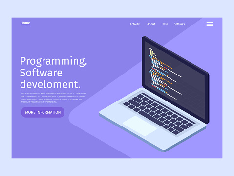 Software development and programming in isometric illustration. Landing page template.