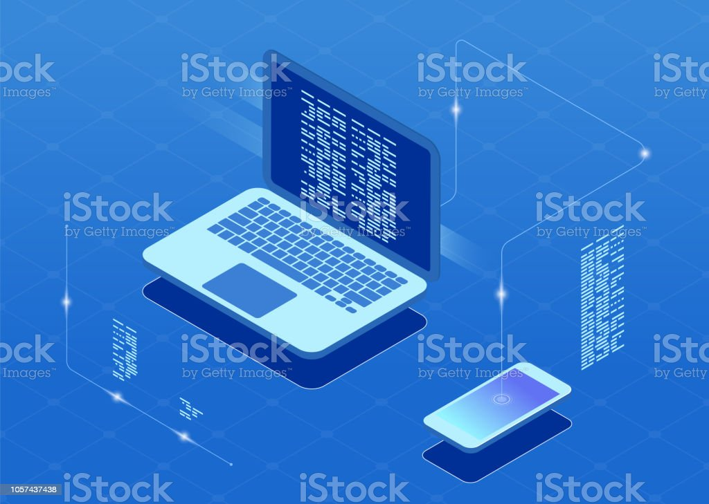 Software development and programming, program code on laptop screen. royalty-free software development and programming program code on laptop screen stock illustration - download image now