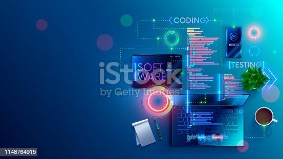 istock Software development coding concept. Programming, testing code, app. 1148764915