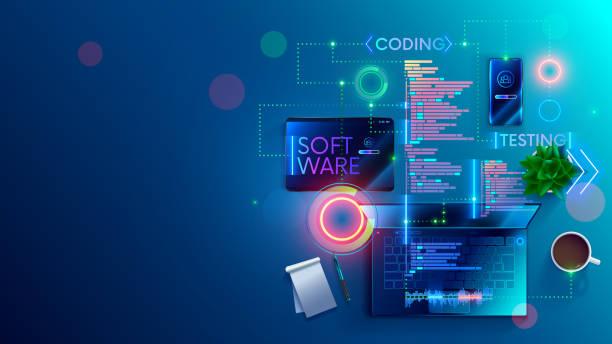 Software development coding concept. Programming, testing code, app. vector art illustration