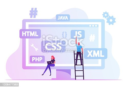 Software Development Concept. Programmers Make Site or Web Interface Project. Website Designer Developer Social Media Wireframe Front End Html Programming, Coding. Cartoon Flat Vector Illustration