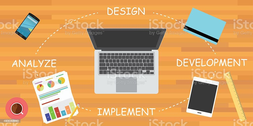 software development cycle sdlc vector art illustration