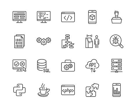 Software development flat line icons set. Programming language, application, api, computer program develop vector illustrations. Outline signs for website design. Pixel perfect 64x64. Editable Stroke