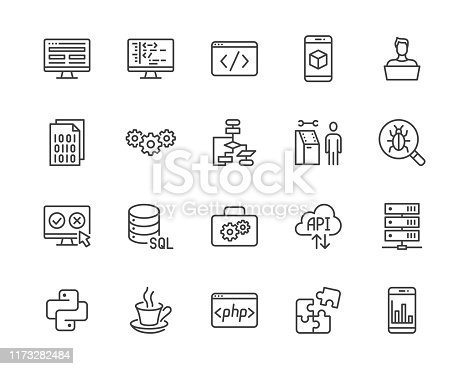 Software development flat line icons set. Programming language, application, api, computer program develop vector illustrations. Outline signs for website design. Pixel perfect 64x64. Editable Stroke.
