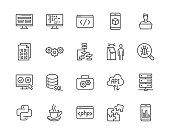 Software development flat line icons set. Programming language, application, api, computer program develop vector illustrations. Outline signs for website design. Pixel perfect 64x64. Editable Stroke.