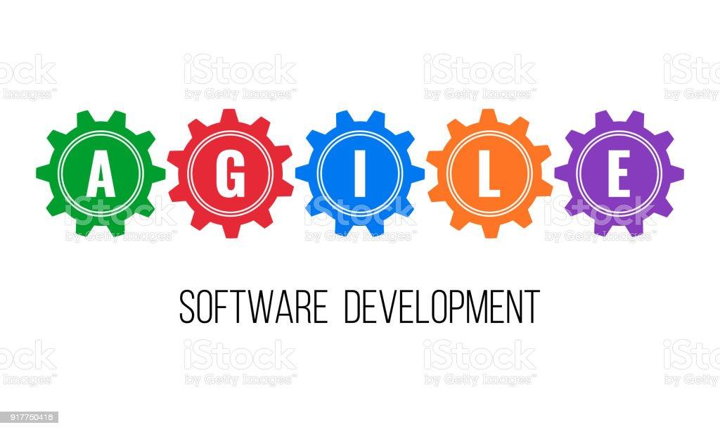 AGILE software development, gears concept vector art illustration