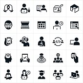 Icons related to the field of software development. The icons include software developers working on their own and in groups to develop software programs.