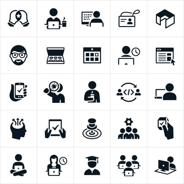 Software Development Icons vector art illustration