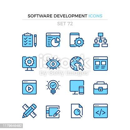 Software development icons. Vector line icons set. Premium quality. Simple thin line design. Modern outline symbols collection, pictograms.
