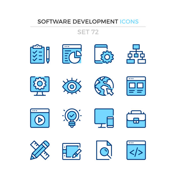 Software development icons. Vector line icons set. Premium quality. Simple thin line design. Modern outline symbols collection, pictograms. Software development icons. Vector line icons set. Premium quality. Simple thin line design. Modern outline symbols collection, pictograms. blue icons stock illustrations