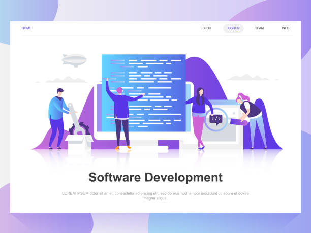 software development modern flat design concept. landing page template. - algorithm stock illustrations