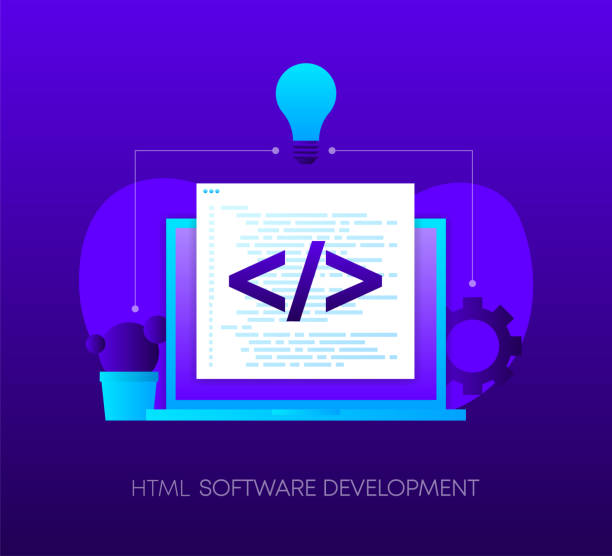 HTML Software Development Programming concept on dark gradient background. Laptop with envelope, open window with programming code. Vector. HTML Software Development Programming concept on dark gradient background. Laptop with envelope, open window with programming code. Vector illustration. php programming language stock illustrations