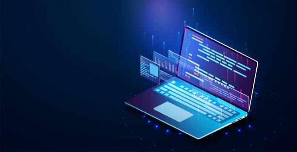 illustrazioni stock, clip art, cartoni animati e icone di tendenza di software development, programming, laptop - linguaggio informatico