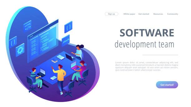 illustrazioni stock, clip art, cartoni animati e icone di tendenza di software development team isometric 3d landing page. - linguaggio informatico
