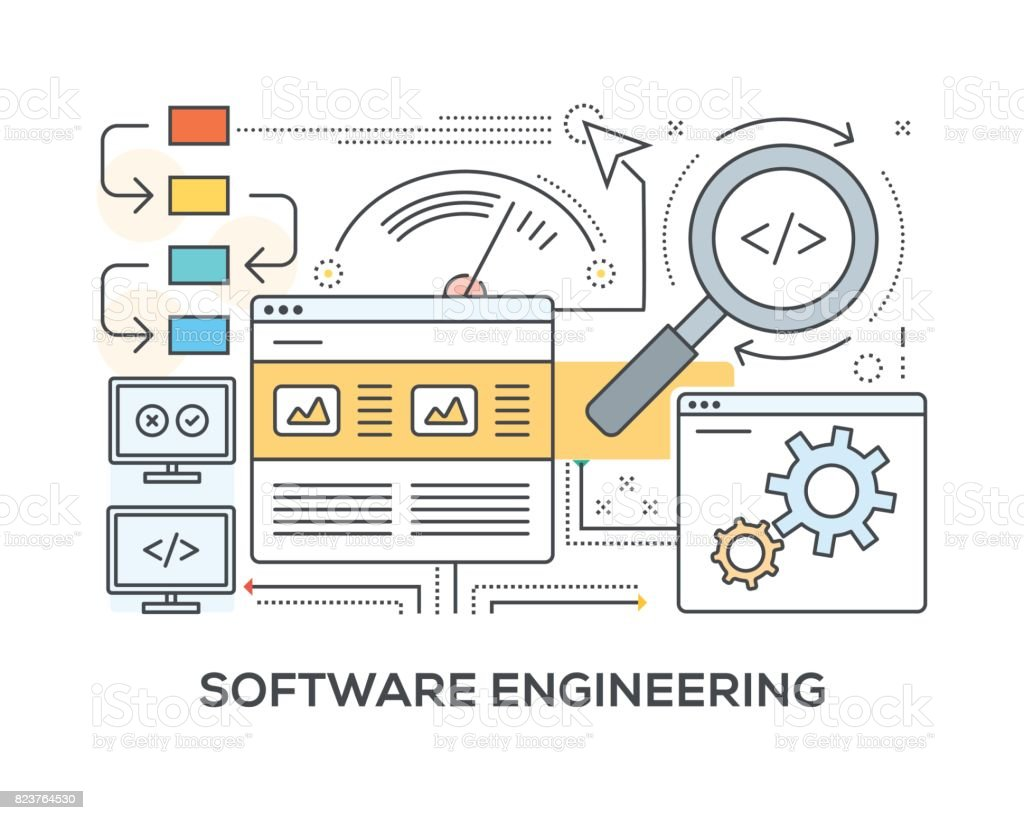 Software Engineering Concept with icons vector art illustration