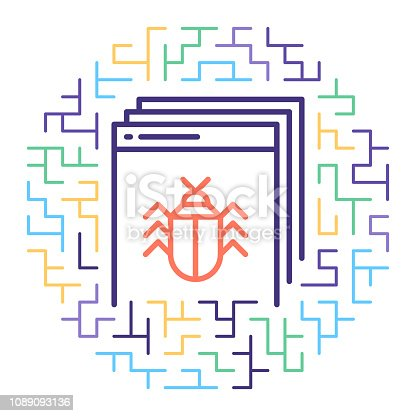 Line vector icon illustration of software engineering and debugging with abstract lines background.