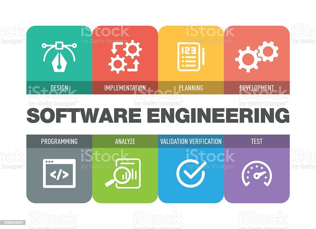 Software Engineering Icon Set vector art illustration