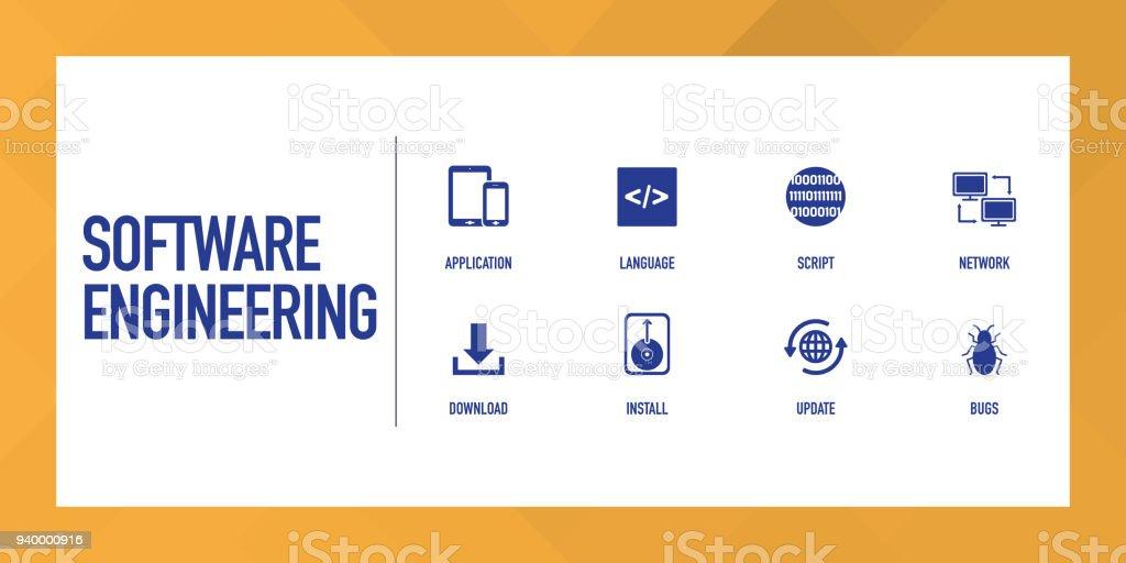 Software Engineering Infographic Icon Set Stock Illustration