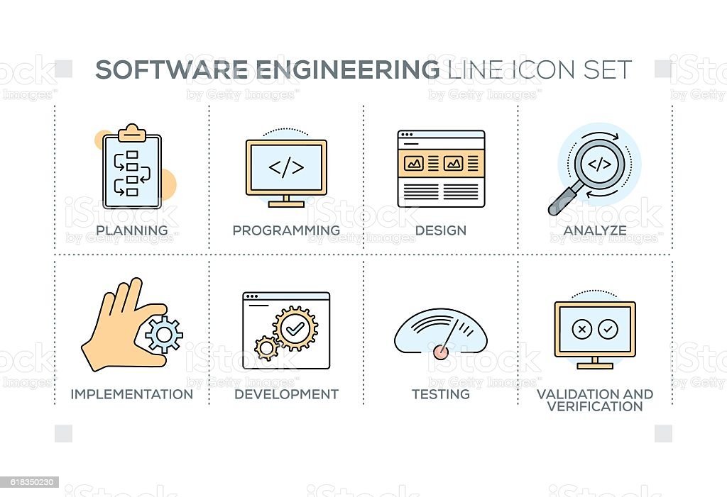 Software Engineering keywords with line icons - ilustración de arte vectorial