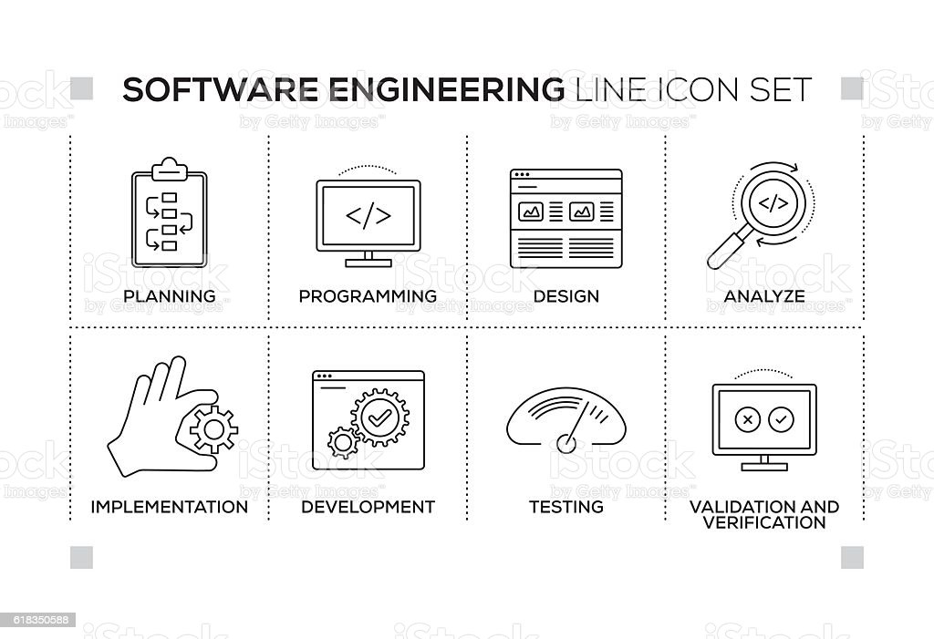 Software Engineering keywords with monochrome line icons vector art illustration