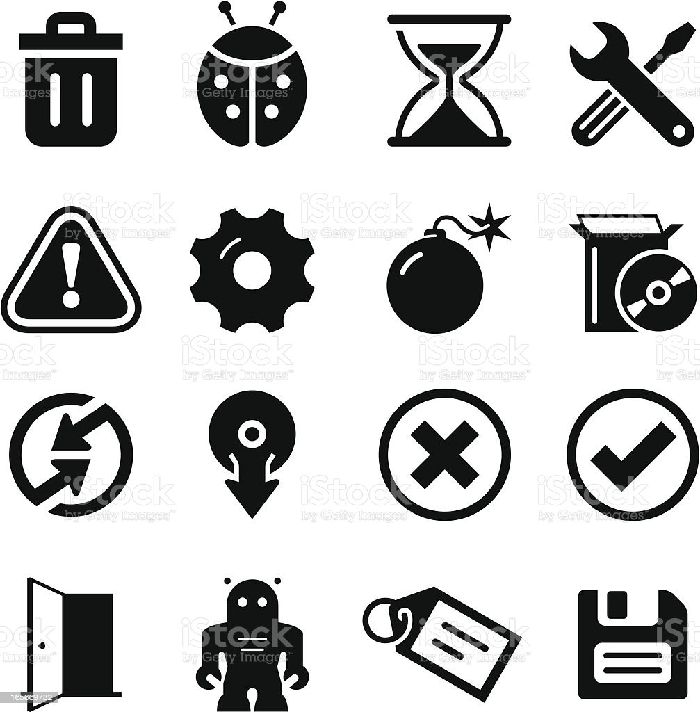 Software Icons - Black Series royalty-free software icons black series stock vector art & more images of alertness
