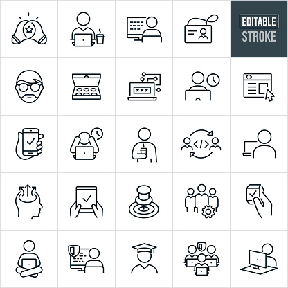 A set of software programming icons that include editable strokes or outlines using the EPS vector file. The icons include software programmers, software developer working at computer, software programmer programing at computer, company name badge, light bulb, box of doughnuts, passcode on computer, website, smartphone, devices, overtime, stress, software programmer drinking coffee, programer coding, goal, cog, smartwatch, tablet pc, laptop computer, graduate, software developer and other related icons.