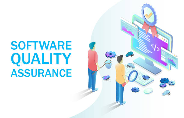 Software quality assurance vector concept for web banner, website page Software quality assurance vector isometric illustration. Software testing, programming and coding concept with people catching bugs on computer monitor for web banner, website page etc. scientific experiment stock illustrations